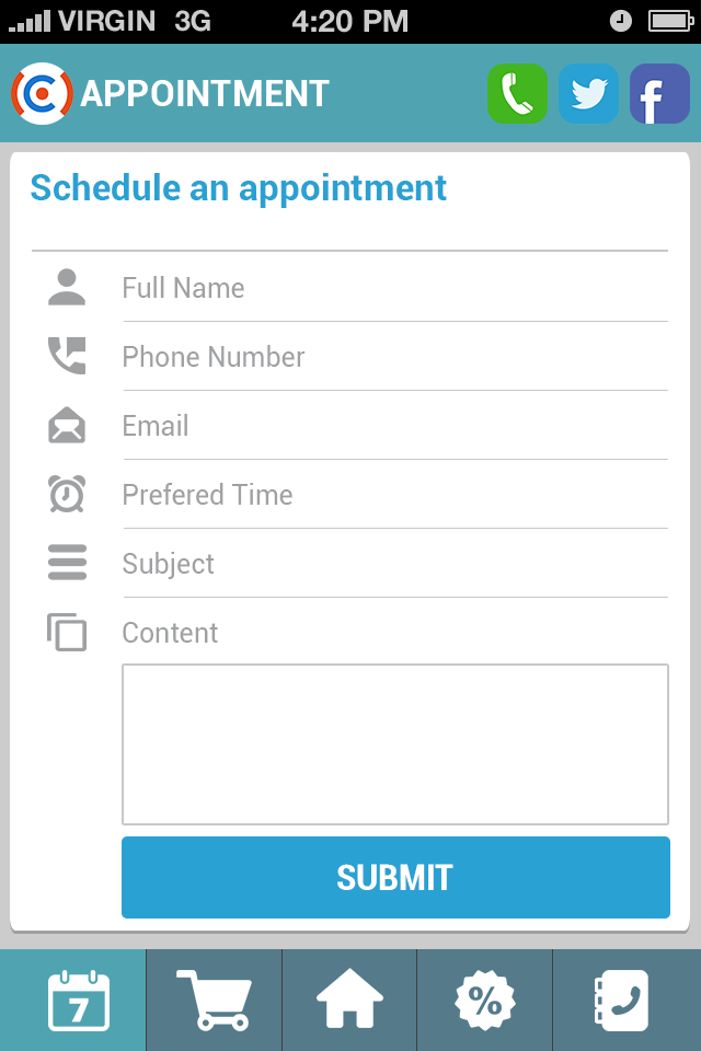 Request Appointment Screen Allow User To Fill In A Form For The