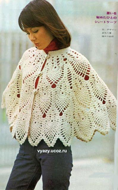 Irish crochet &: CROCHET CAPE ... НАКИДКА   Scarfs and Shawls ...