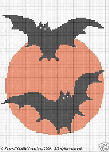 Halloween Bats Crochet Afghan Chart Pattern Beginner | Punto de cruz ...