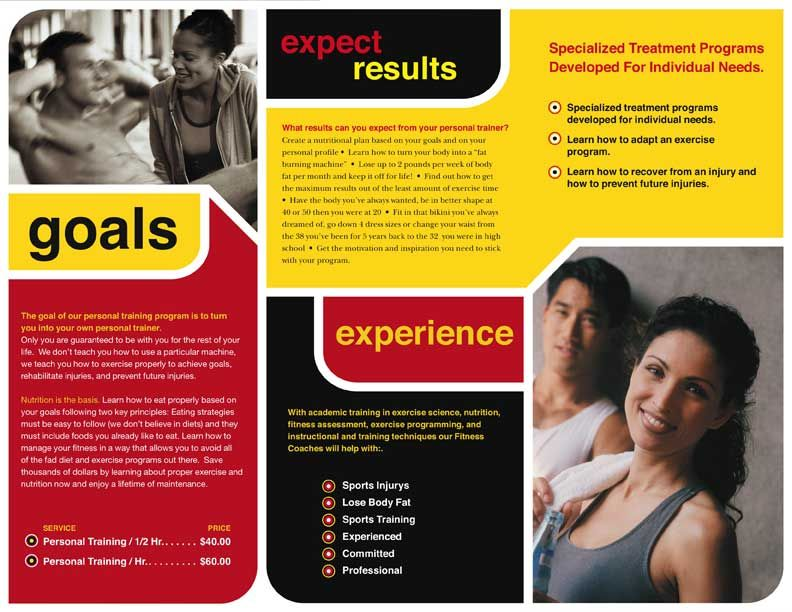 This brochure uses similarity because the design elements are - fitness brochure