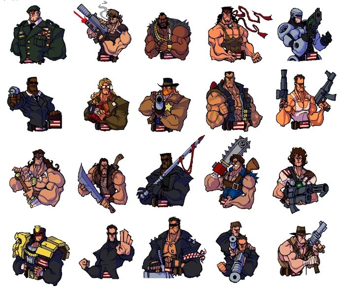 Broforce characters