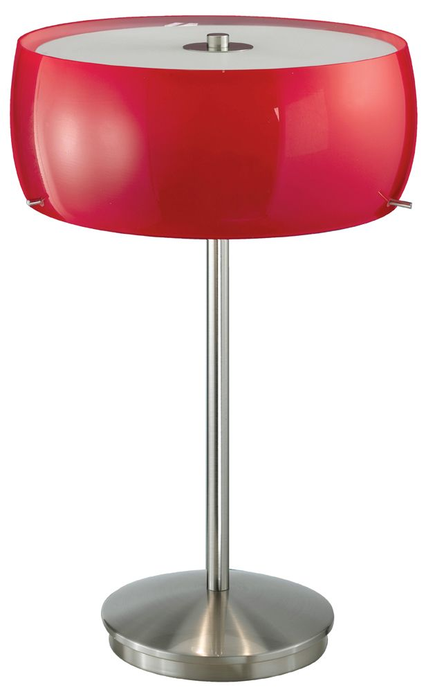 Eglo Lighting 88187a Camaro Collection 3 X 40w Table Lamp Shown In Matte Nickel With Opal Red Glass Lamp Eglo Table