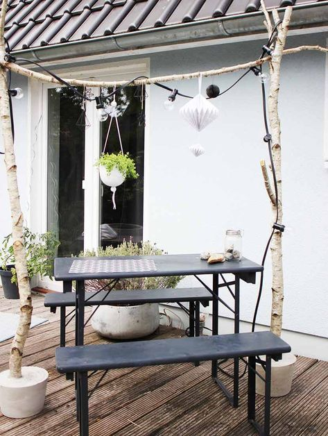 birkenstamm deko selber machen f r drinnen drau en garten pinterest garden balcony. Black Bedroom Furniture Sets. Home Design Ideas
