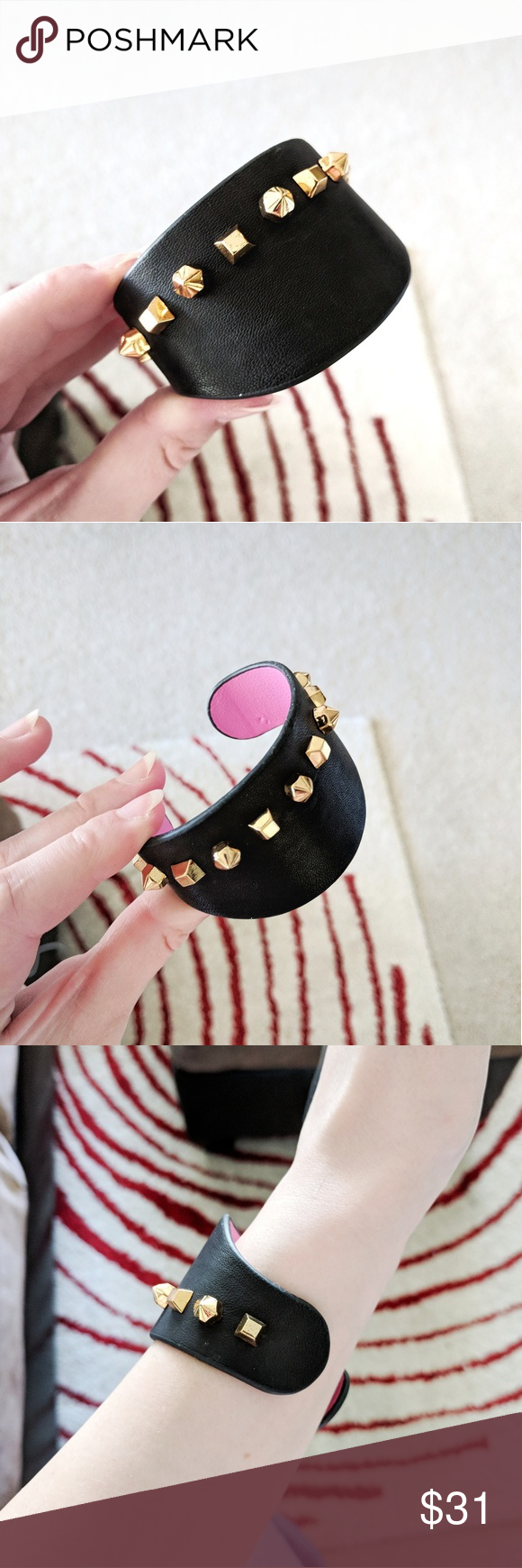 5db28a57f Vince Camuto black leather stud cuff bracelet Vince Camuto black leather  studded wide cuff bracelet. - gold spike studs and pink interior.
