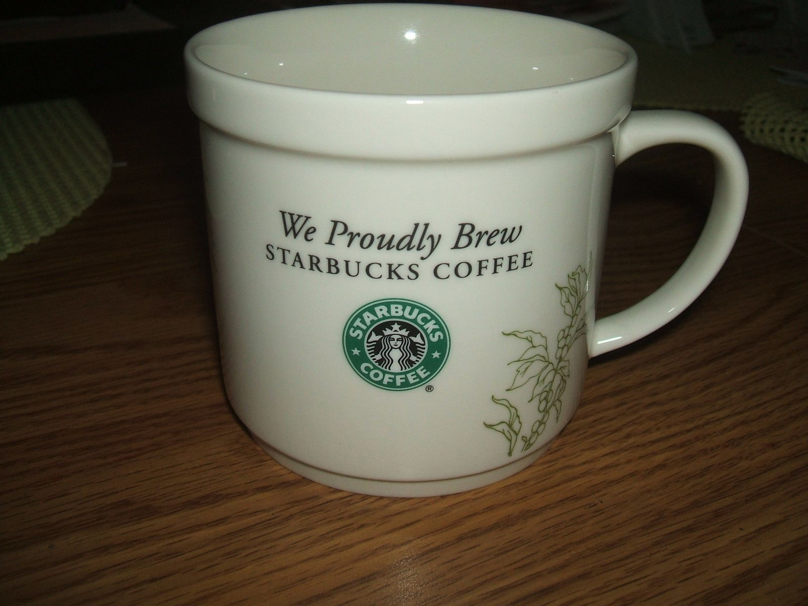 "2008 ""WE PROUDLY BREW STARBUCKS COFFEE"" MUG GREEN MERMAID"