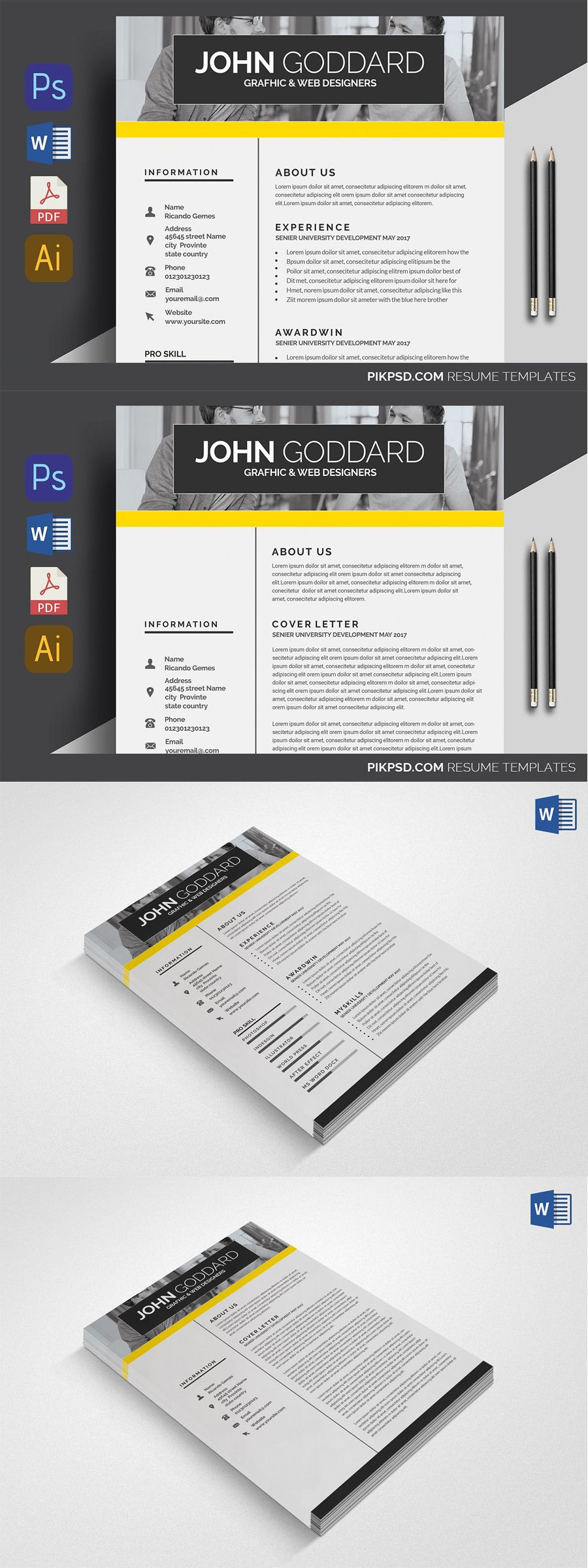Resume/CV Templates PSD Resume templates, Unique resume
