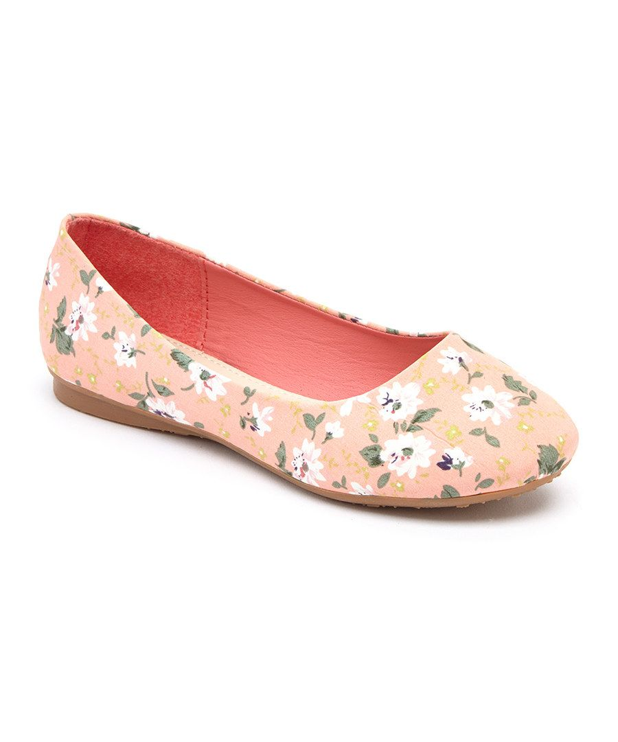 Look at this Lucky Top Coral Floral Flat on #zulily today!