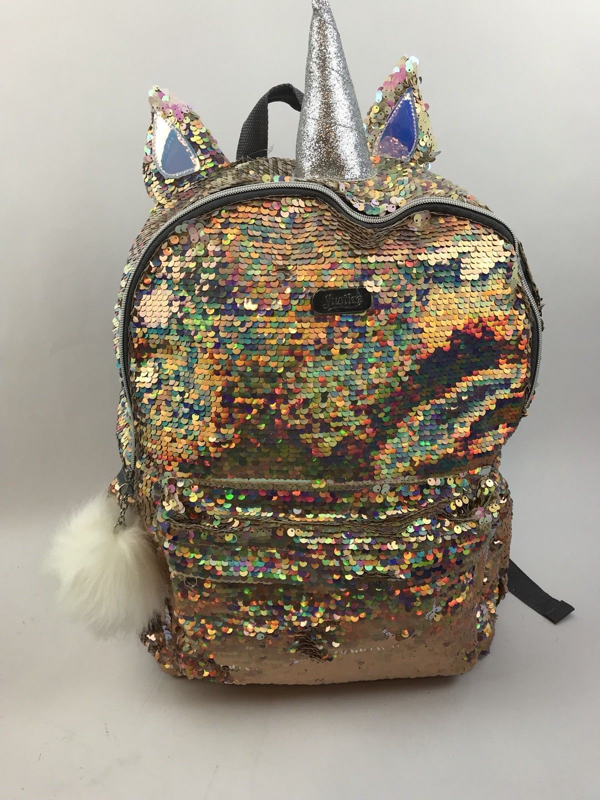 cefb9030c9f Justice Girls Unicorn Gold Flip Sequin Backpack NEW QLT1 G18 Sold ...