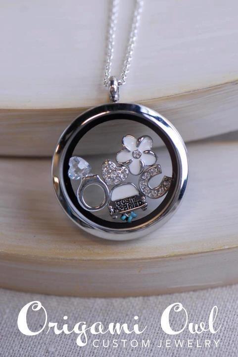 Origami Owl Charm Necklace With Bridalwedding Charms Inside Locket