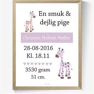 Fodselsplakat Med Giraf Til Pige Diy Baby Born Fodselsdagsgaver