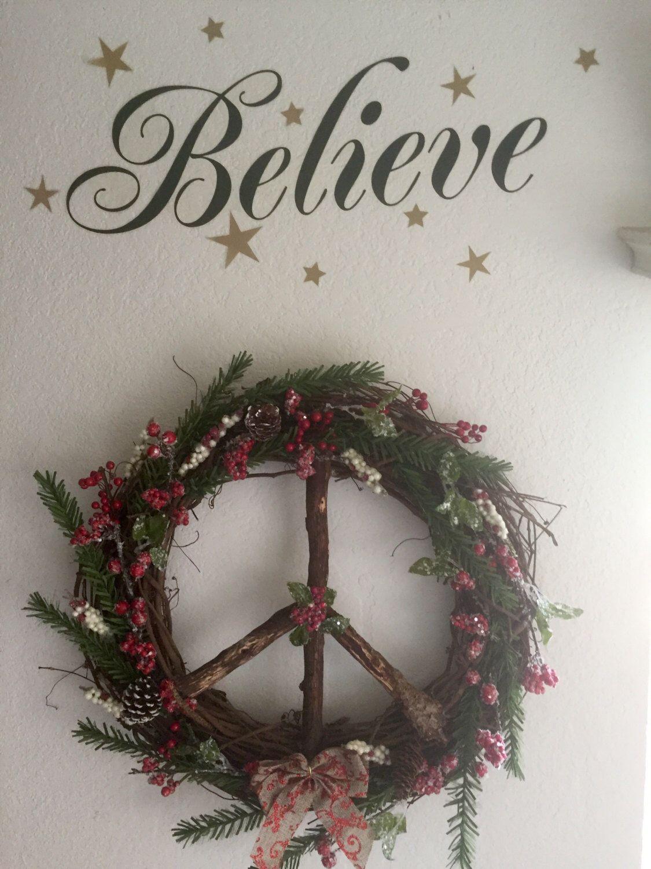 Peace Sign Christmas Wreath Pinterest Peace And Wreaths