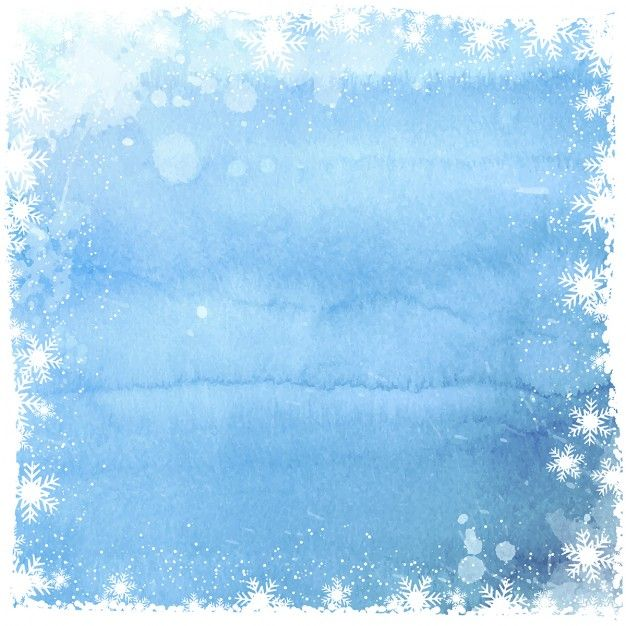 Download Watercolor Background With White Snowflakes Frame For