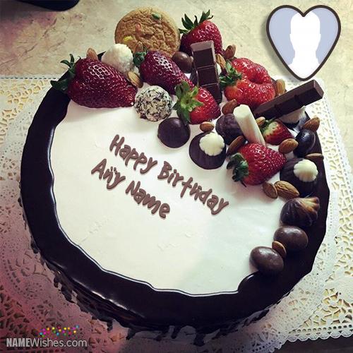 Fruity Chocolate Birthday Cake With Name Birthday Cakes With Name