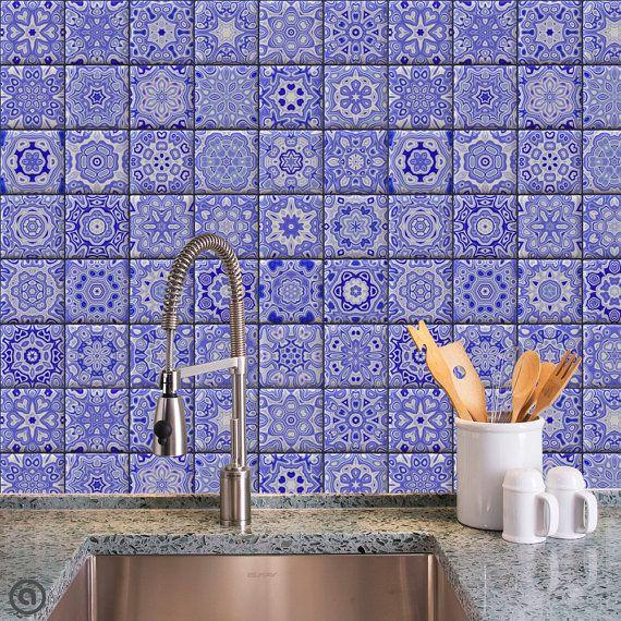 Removable Wallpaper Cobalt Tiles Peel & Stick Self