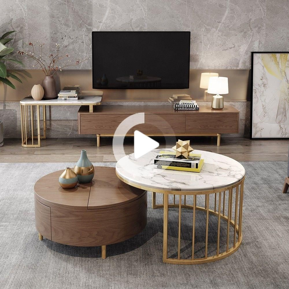 Modern White Walnut White Round Coffee Table With Storage Wood Rotating Marble Nesting Coffee Couchtisch Modern Couchtisch Design Couchtisch