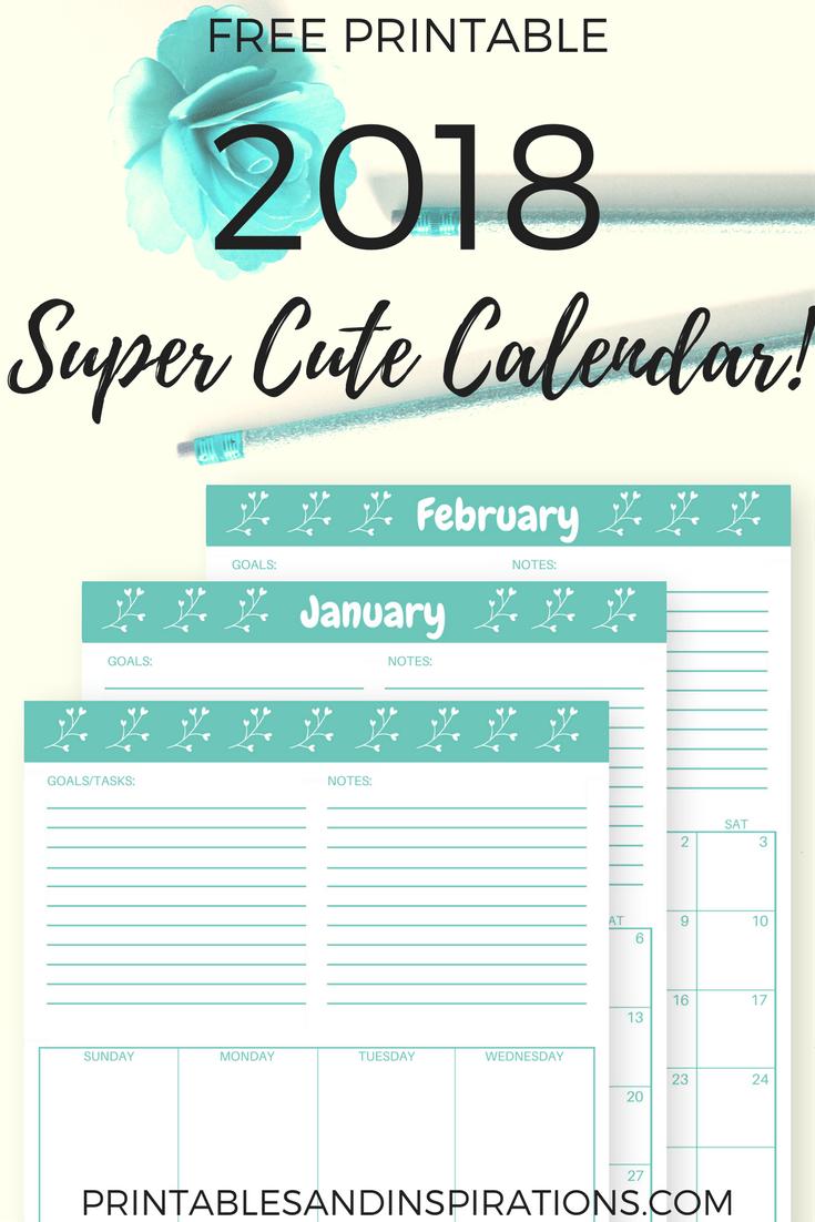 Free Printable 2018 Cute Calendar In Cyan Pinterest Kalender