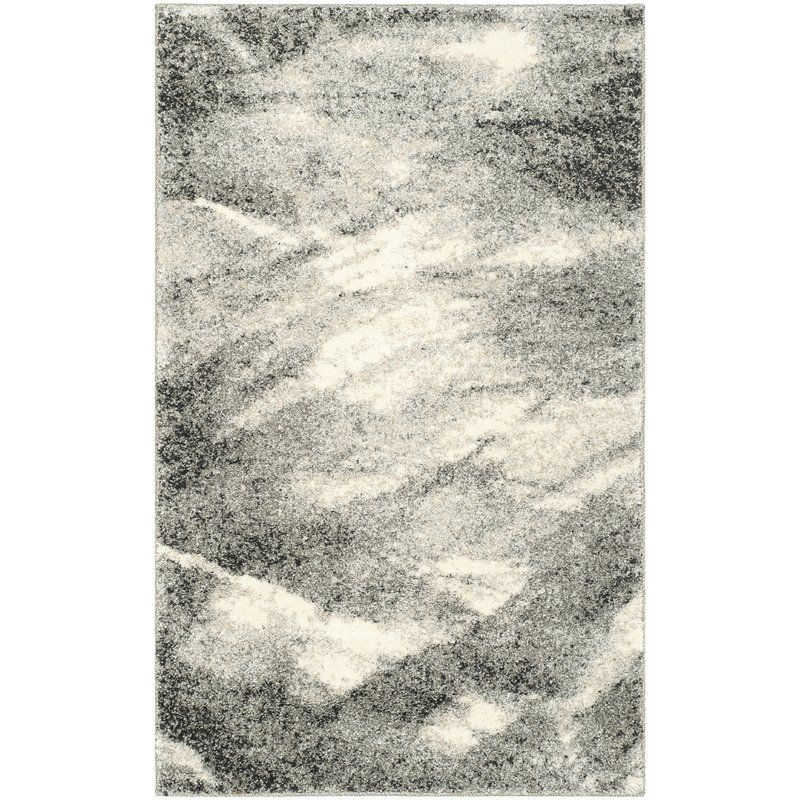 Kruse Abstract Gray Ivory Area Rug Judkins Park