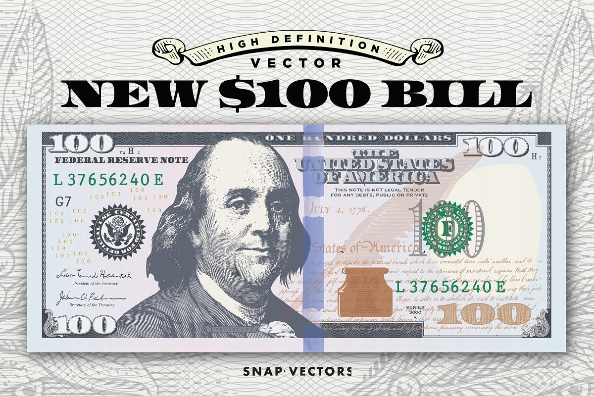 Vector New 100 Bill Template With Images