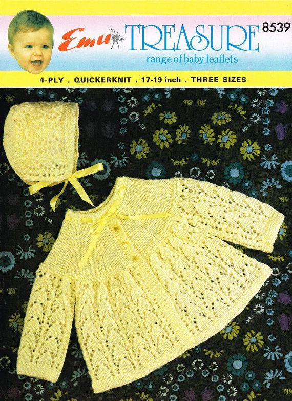 bonete y la capa de matinee de bebé establecen patrón de tejido ...