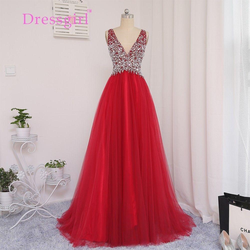 Dressgirl Rot 2017 Brautkleider A-linie Mit V-ausschnitt Tüll Wulstige Kristalle Lange Backless Abendkleid Abendkleider Abendkleid //Price: $US $110.67 & FREE Shipping //     #clknetwork