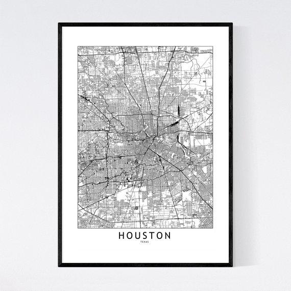 Houston Map Print Houston Map Poster Houston Wall Art Houston