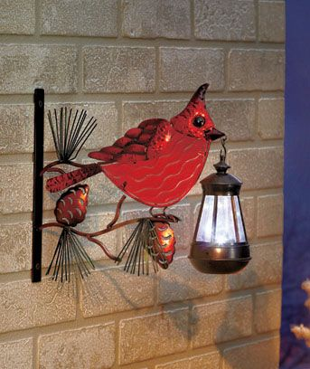 Fused Glass Cardinal Solar Lantern Solar Lanterns