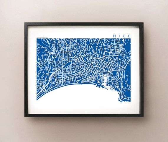 Nice Map Art France Poster Print Gift Ideas Pinterest Map