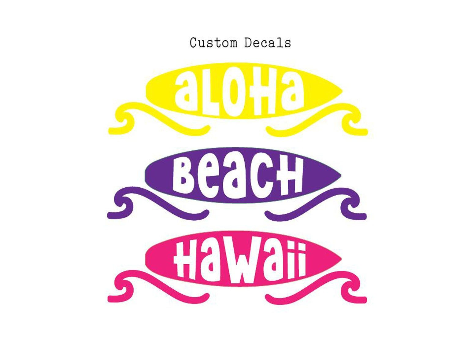Surfs Up Decal, Surfer Decal, Childs Name Decal, Surfboard Decal, Laptop Sticker, Car Decal, Aloha Decal, Riptide, Custom Decal, Beach Life #surfsup