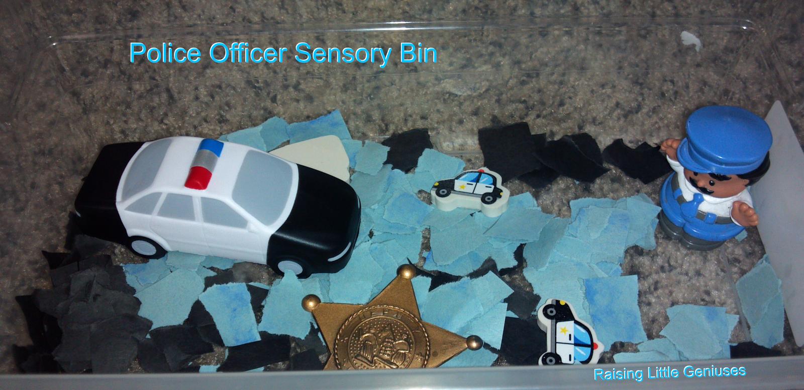 Policeman Sensory Bin