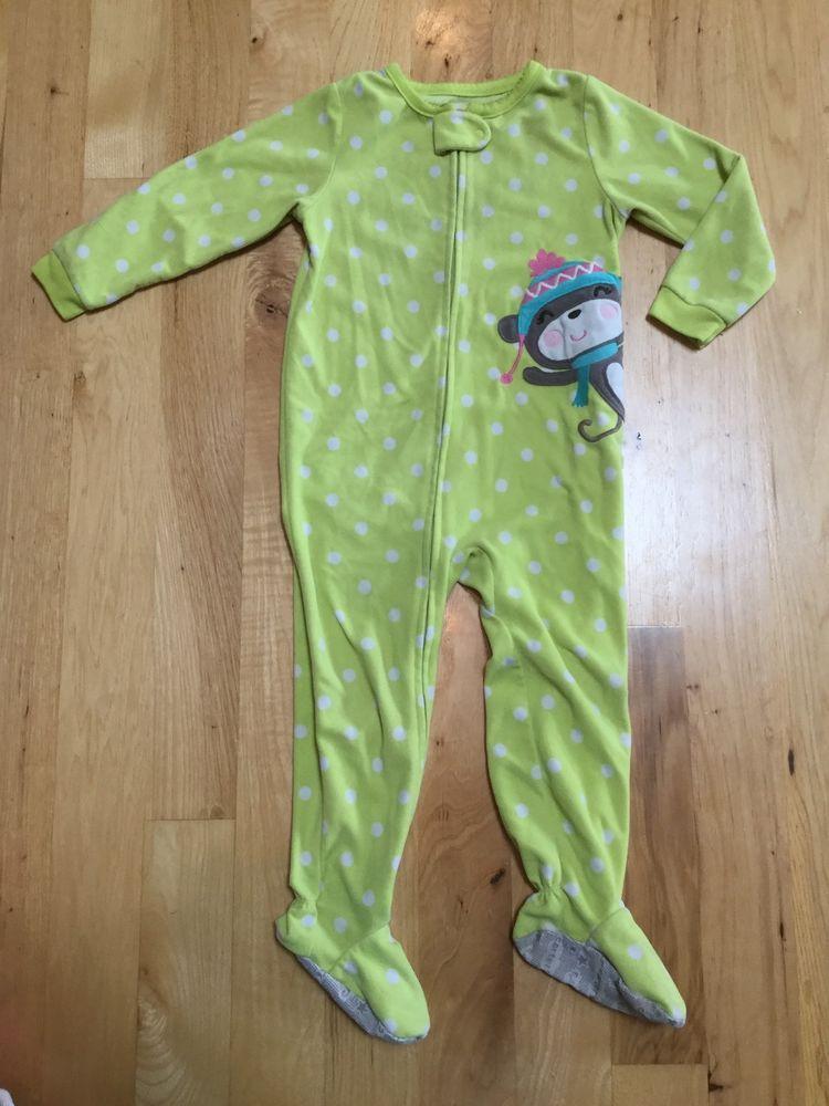 06e4150ac Girls Yellow Dots Monkey Fleece Pajamas Pjs Sleeper Carters Size 3T ...