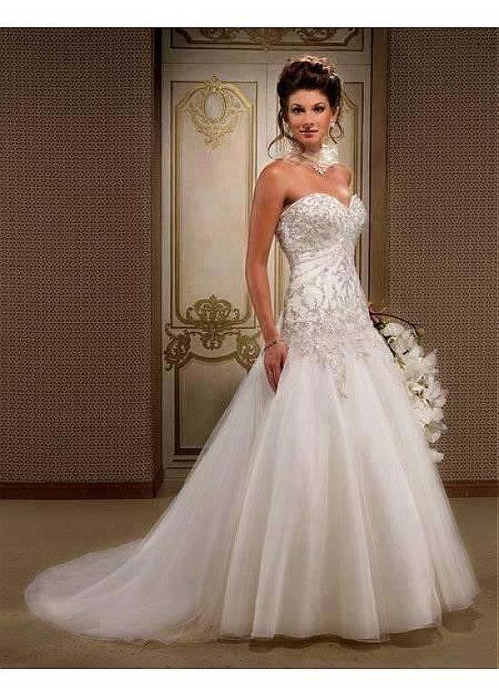 Stunning A-line Satin & Organza & Tulle Sweetheart Wedding Dress $279.99 Wedding Dresses