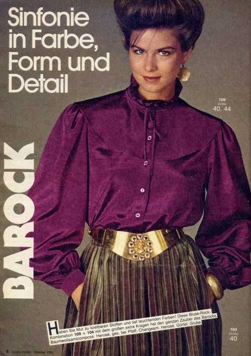 """1980s fashion - everything was """"big!"""" hair, blouses, skirts"""