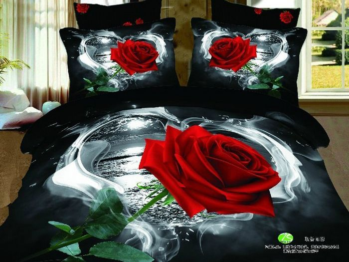 Red Roses Bed Comforters Bedding Set King Size Skirt 60s Bed