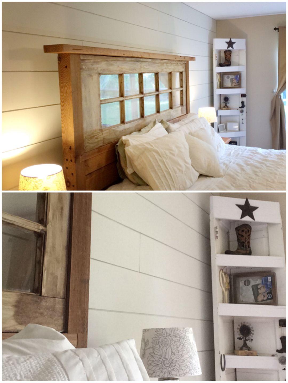 DIY shiplap, headboard & corner door shelf: (Farmhouse bedroom with ...