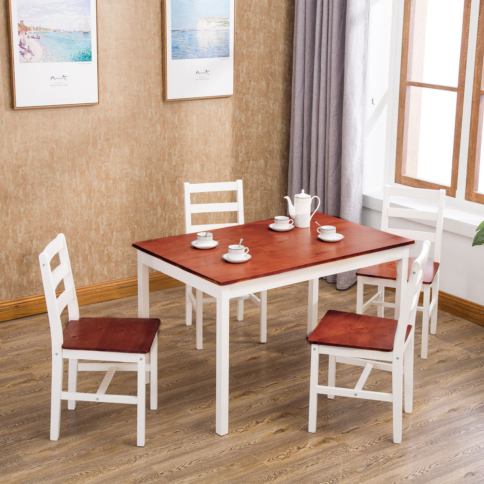 5 Pcs Pine Wood Dining Table Set W 4 Chairs Kitchen Dining Room