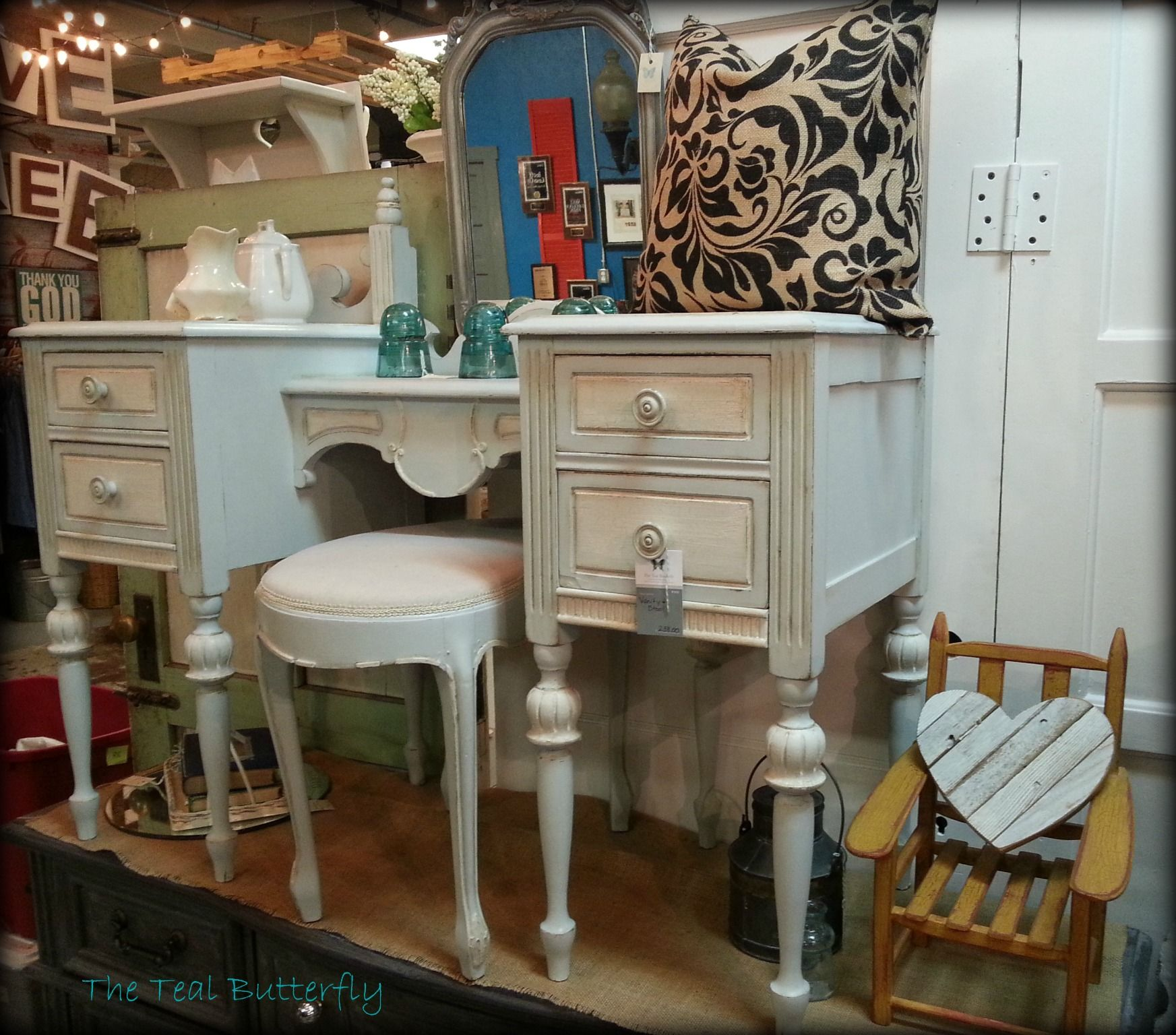Vanity and stool painted with Amy Howard One Step paint in