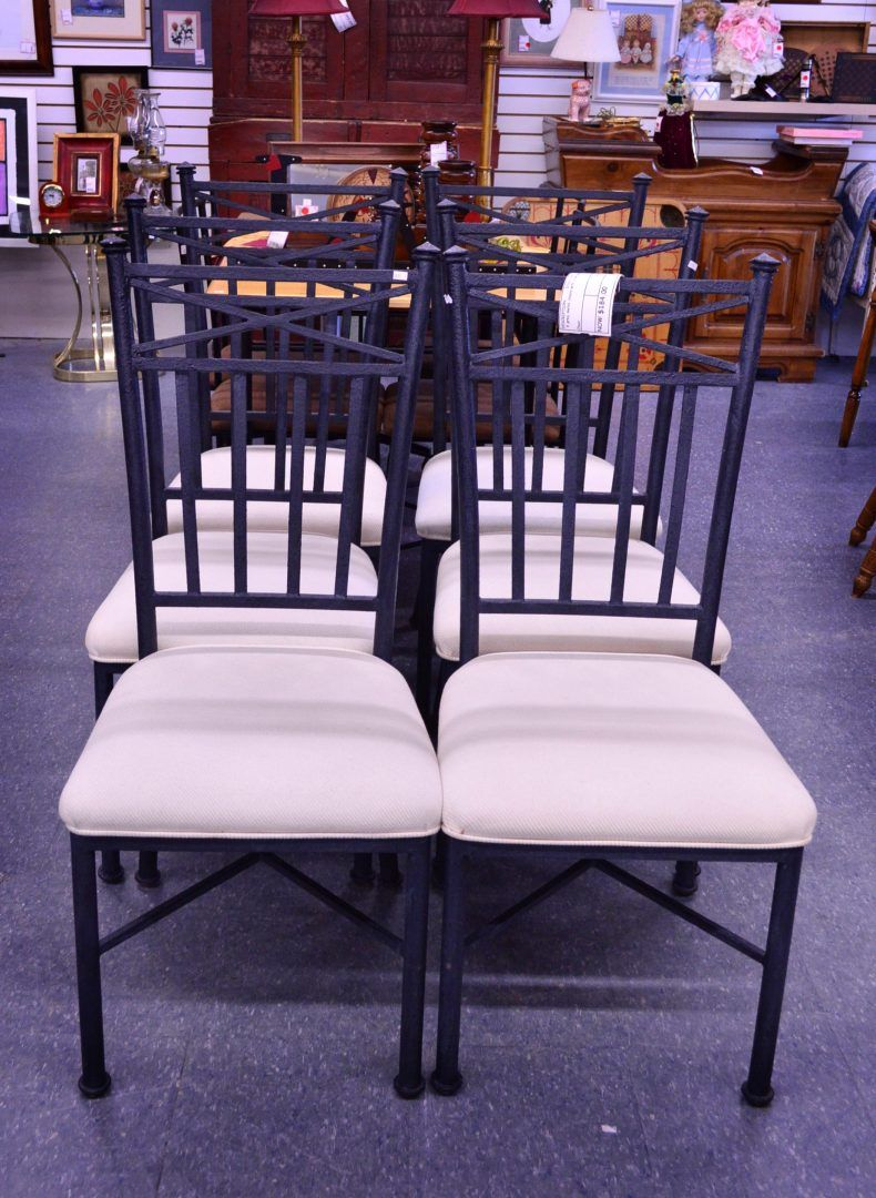 6 Metal Chairs With Cream Seats