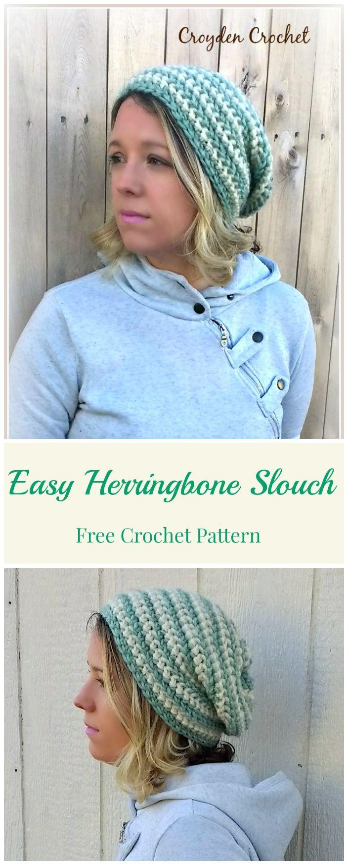 Easy Herringbone Slouch   Crafts & DIY   Pinterest   Turbantes y Gorros