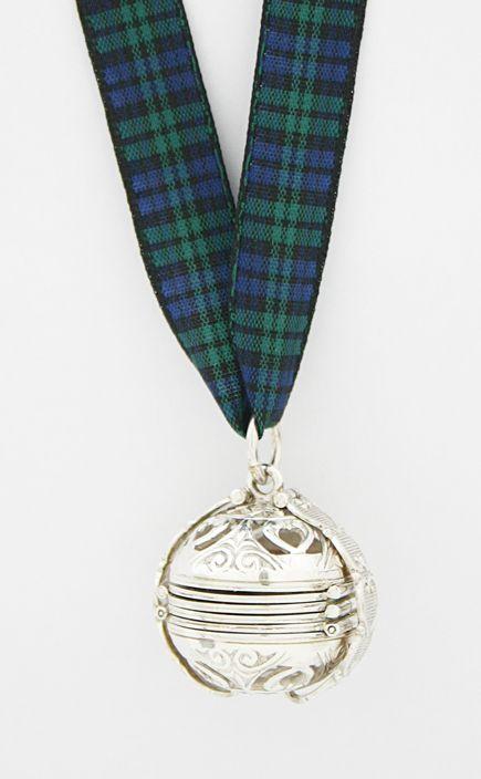 Silver Pomander Tartan Ribbon Necklace by Scotweb