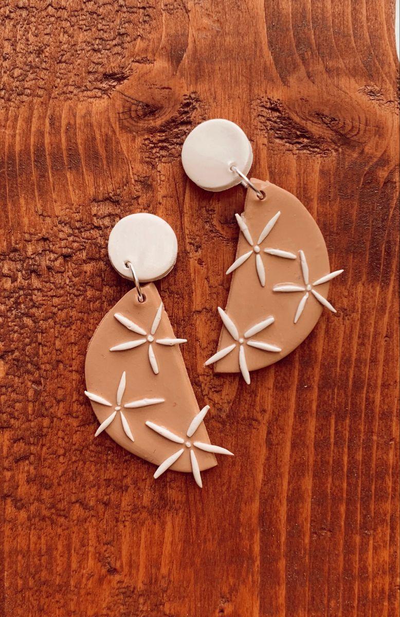 Tan half circle flower earrings