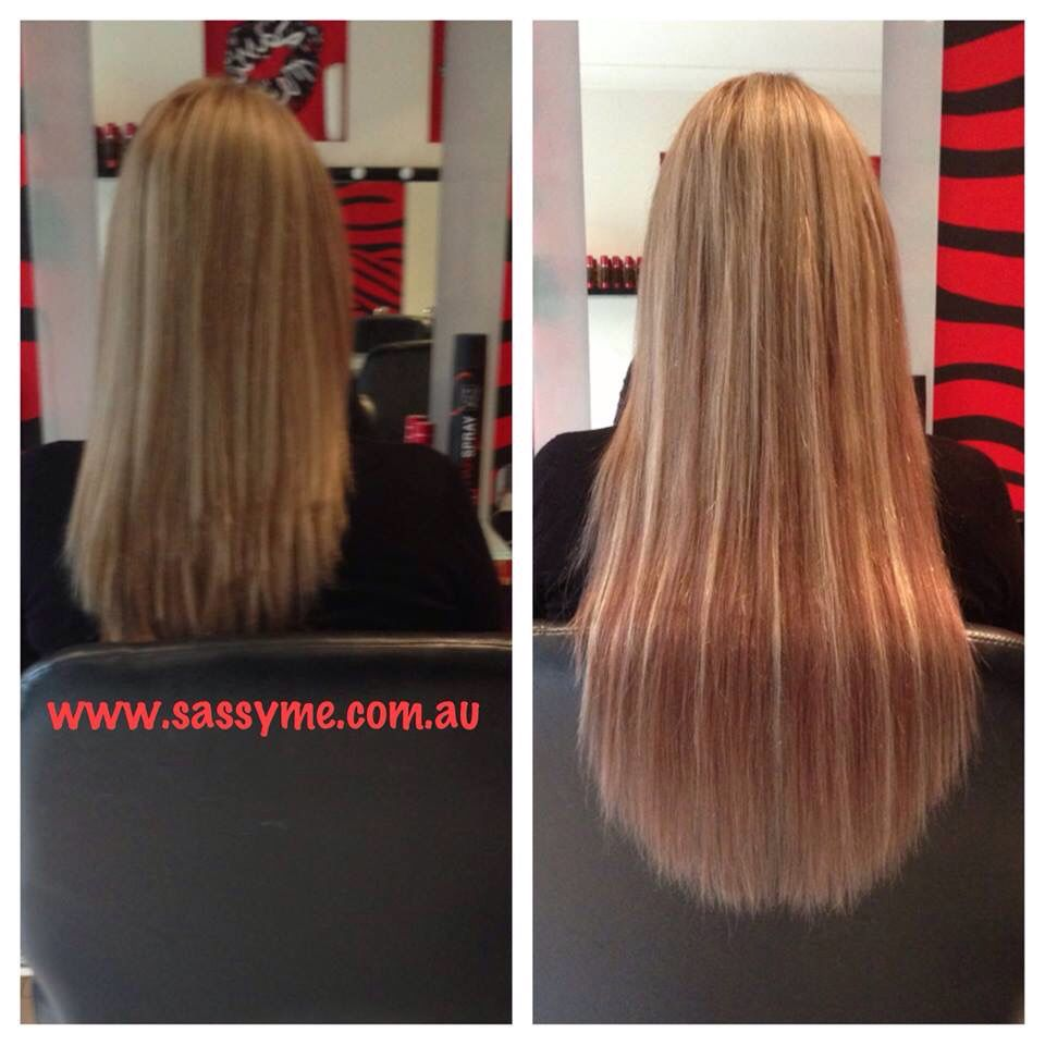Before And After Microbead Extensions 100human 22 Inch Remy