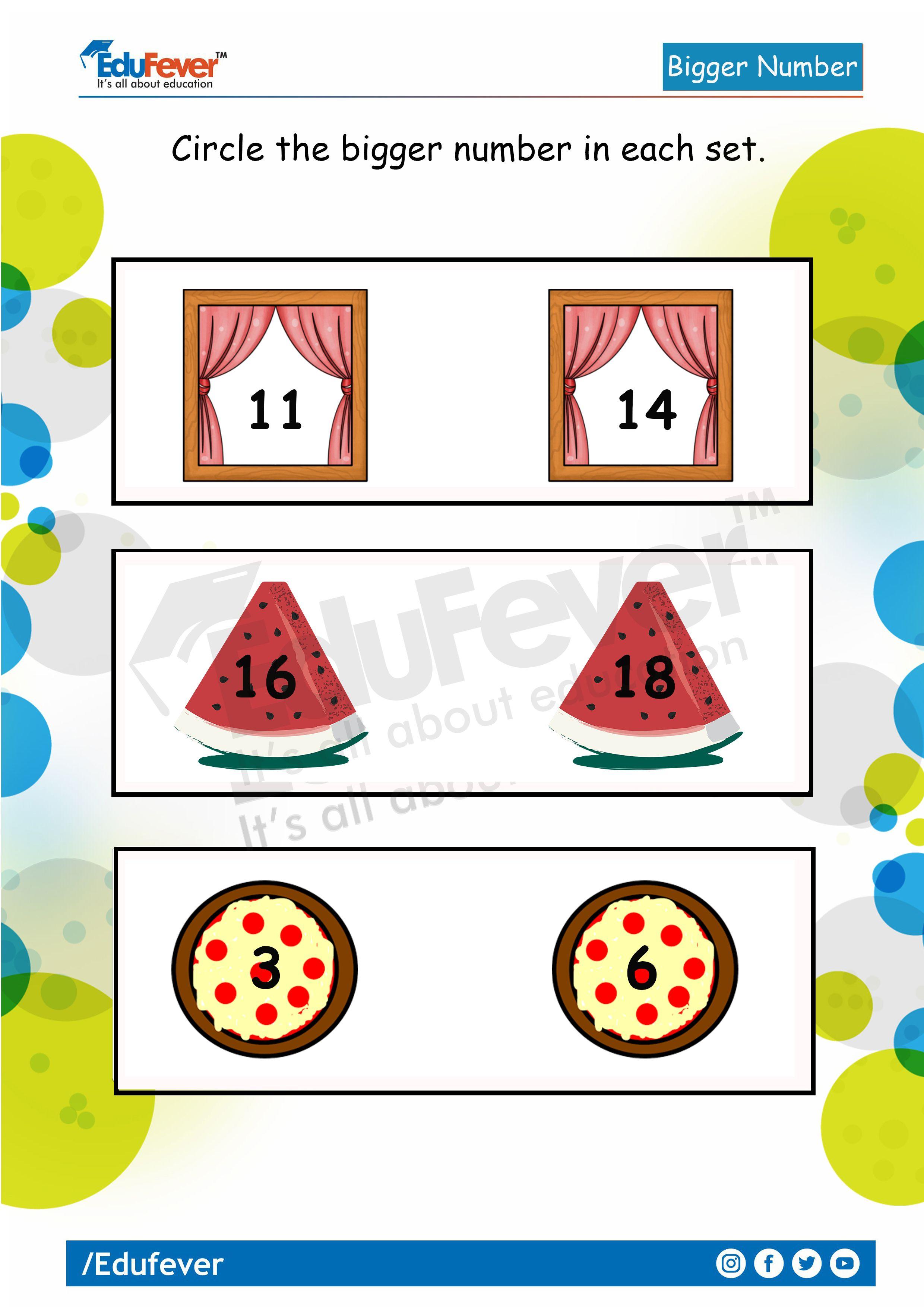 Circle The Bigger Number Lkg Math Worksheet Number Worksheets Math Concepts Math Worksheet [ 3508 x 2480 Pixel ]