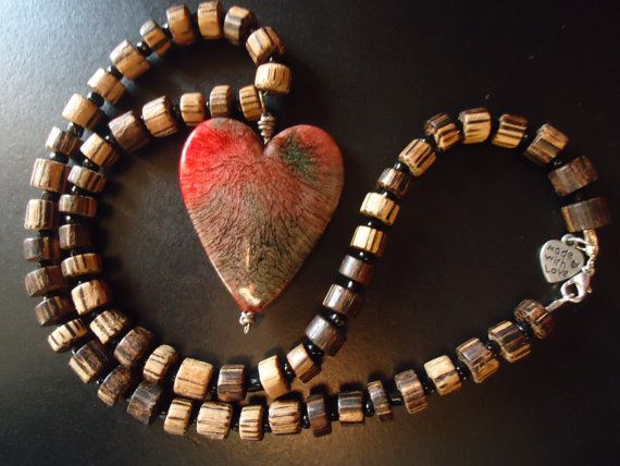 Sale. Forest Heart Necklace. Wood Necklace by TheBeadedPaths, $18.00