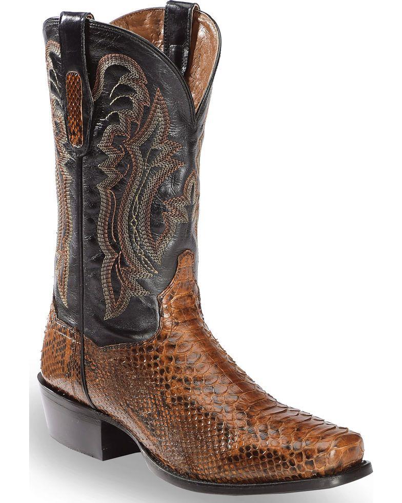 a87b67d7bb8 Dan Post Men's Cognac Back Cut Python Cowboy Boots - Square Toe in ...
