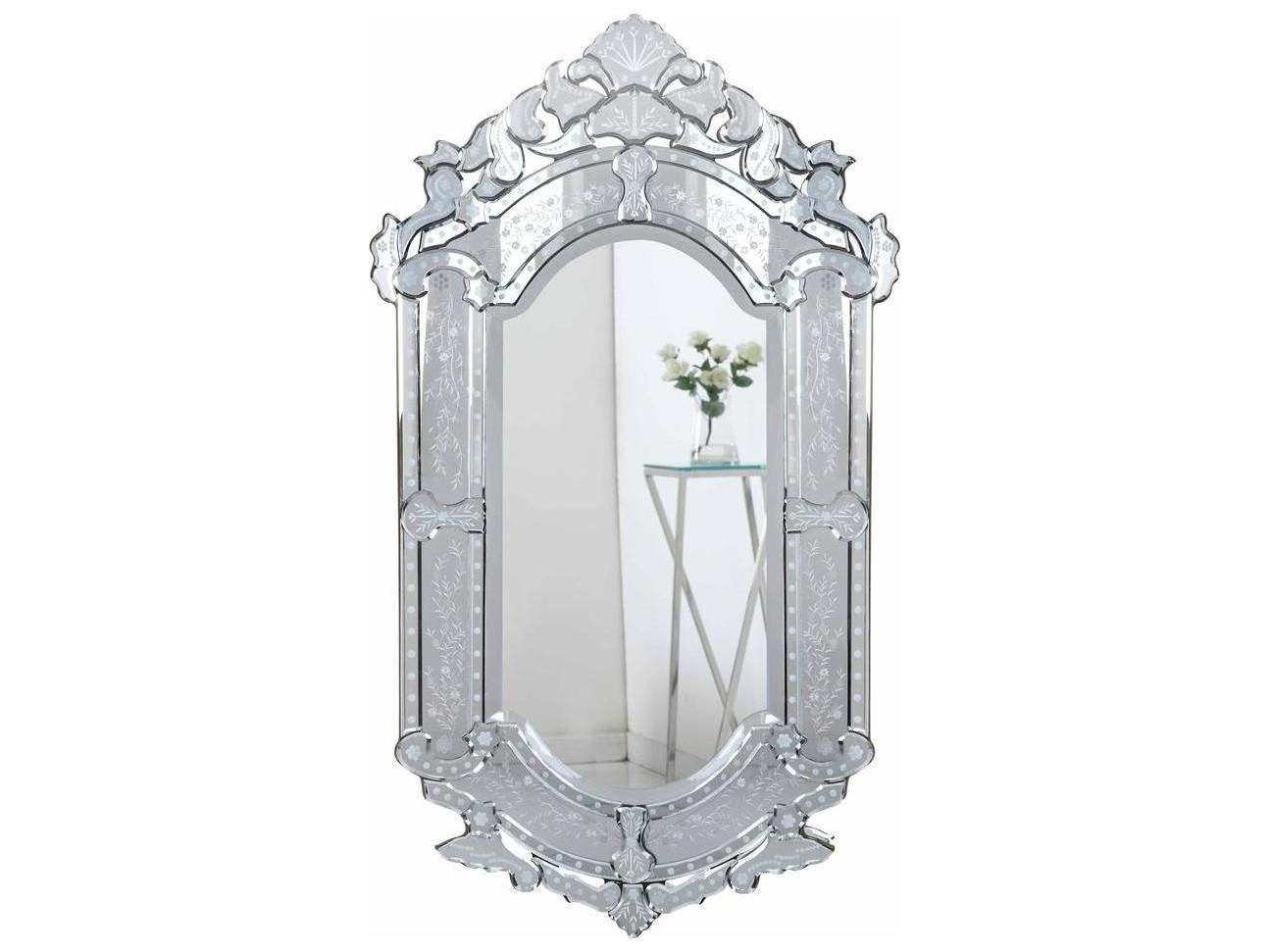 Elegant Lighting Venetian 28 W X 48 H Clear Wall Mirror