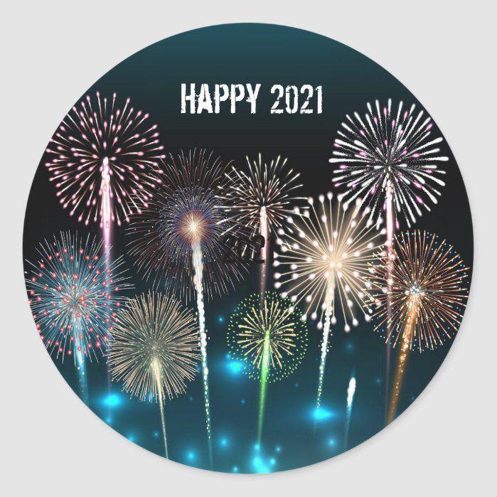 Happy New Year 2021 Classic Round Sticker Zazzle Com In 2020 Happy New Year Custom Holiday Card Round Stickers