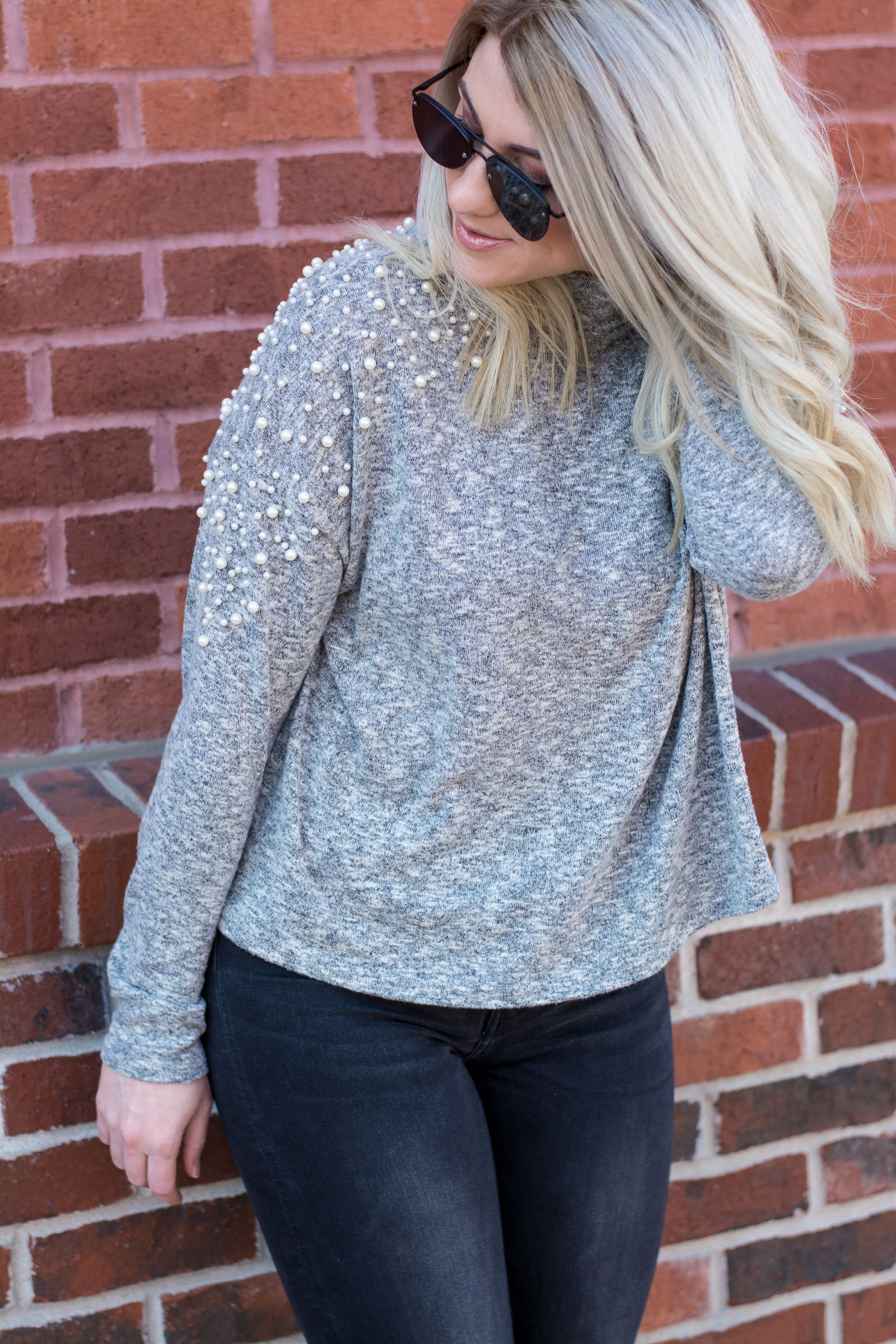 f6744ff384 Pearl Sweater with Dark Denim + White Booties