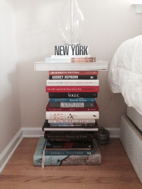 Bedside Table Stack of Books | Floating nightstand, Stack of books, Table