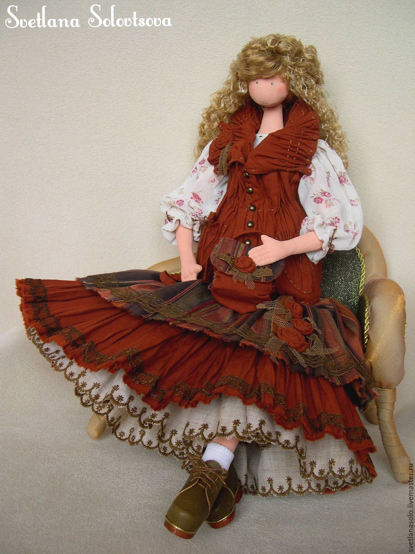 Купить Интерьерная кукла Ксюша - коричневый, кукла, кукла тряпиенс, бохо, подарок, ручная работа