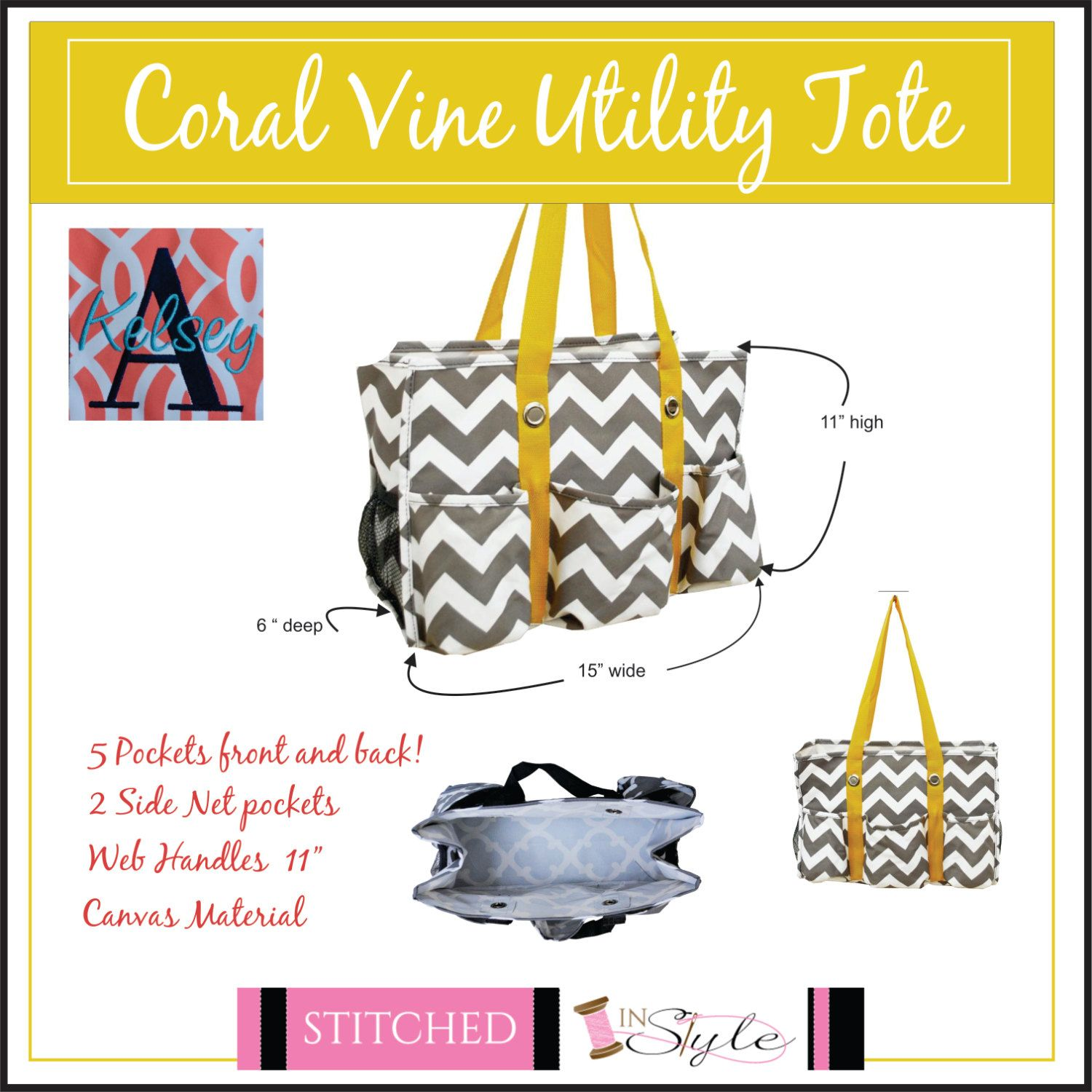 Chevron Utility toe, Nurse's Tote, Diaper bag, Mother's Day Gift, Monogrammed by StitchedInStyle1 on Etsy